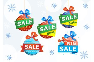 Christmas sale stickers isolated on white