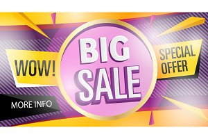 Big sale banner template in trendy style