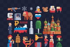 Russia. pixel art icons
