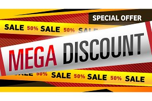 Mega discount banner in trendy style
