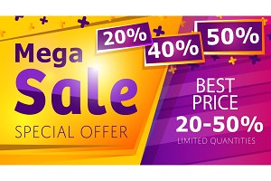 Mega sale banner template in trendy style