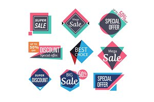 Supermarket sale stickers in trendy style