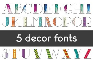 Five variations of font decoration