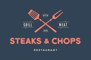 Label of restaurant with grill symbols