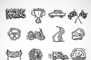 Racing sketch icon set