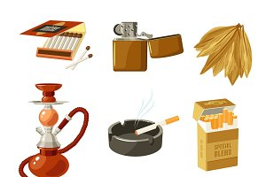 Tobacco and smoking icons set