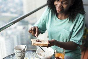 Black woman having breakfast