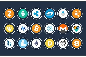 Cryptocurrency Icon Collection Vector Illustration