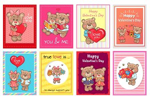 Happy Valentines Day I love you Set of Poster Bear