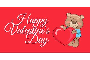 Happy Valentines Day Poster Teddy Big Heart Symbol