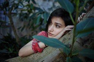 Portrait of romantic dreamy teenage