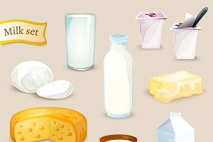 Milk food and drink products icons