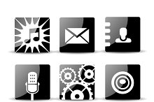 Modern flat mobile app icons set