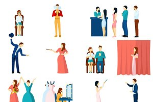 Theater acting flat icons set
