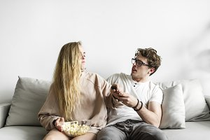 Couple watching movie together