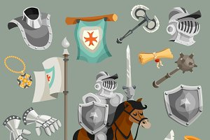 Knights cartoon icons set
