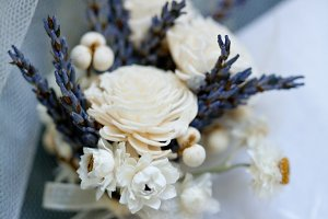 Boutonniere - white and purple