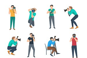 Male photographer avatars set