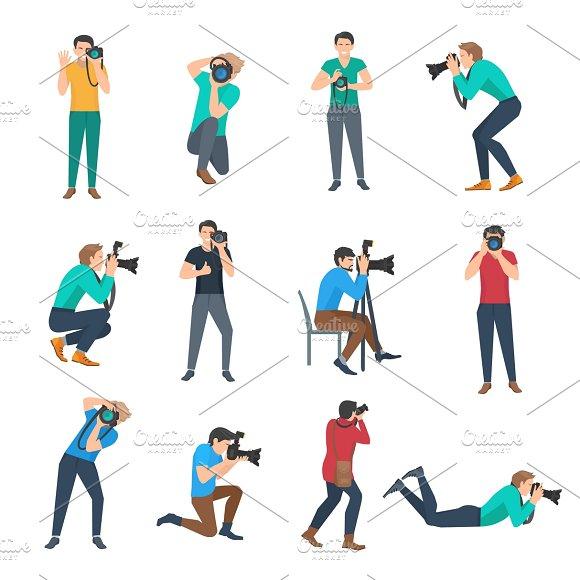 Male photographer avatars set