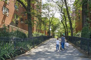 Family walking by Brooklyn district