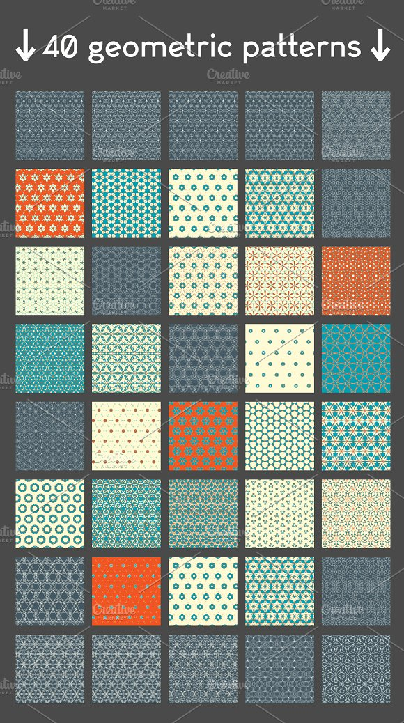 40 geometric patterns in Patterns - product preview 1