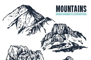 Hand drawn mountain contours