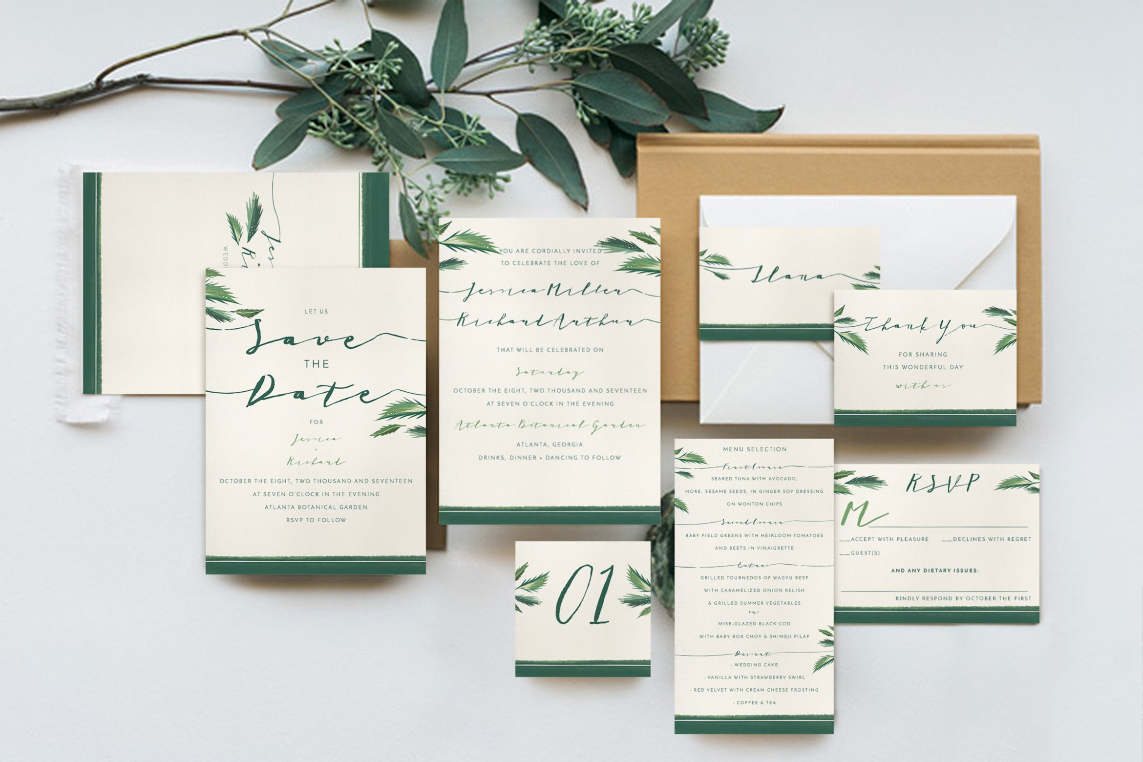 Classy Tropical Wedding Suite ~ Invitation Templates ~ Creative Market