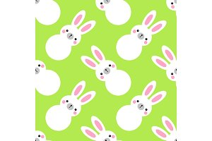 Cute geometric Easter seamless pattern design with bunny