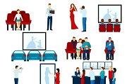 Cinema movie theater icons set
