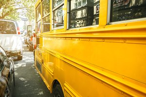 Yellow school bus in New York City