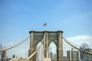 Brooklyn Bridge towers in New York
