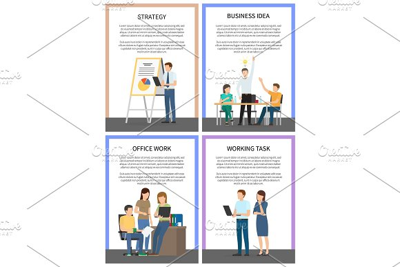 Business Idea Strategy Working Office Task Posters