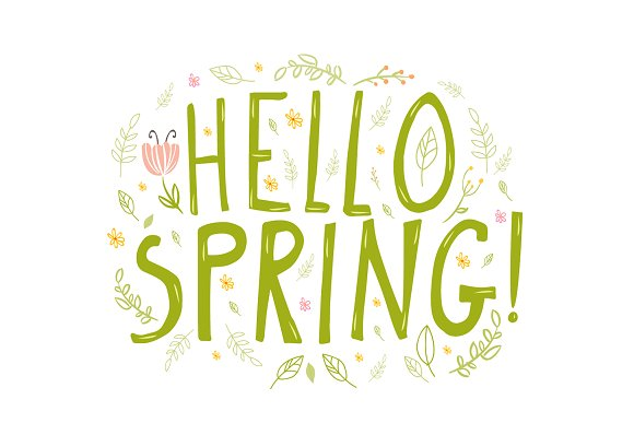 Green colored Hello Spring words