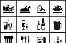 Food and dining vector icons set