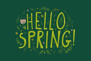 Green Hello Spring words