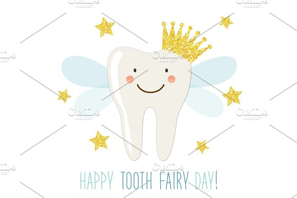 Cute Tooth Fairy Day greeting card as funny smiling cartoon character of tooth fairy with crown and hand written text in Illustrations