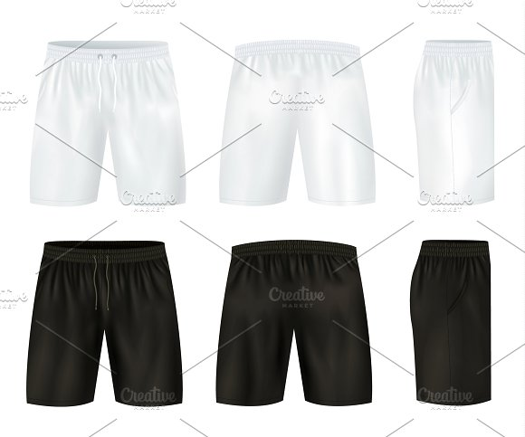 Black And White Shorts Icon Set