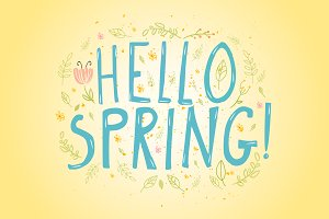 Hello Spring words and soft flowers