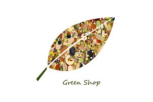 Cute leaf shape logo from nuts, dried fuits, grains and cereals. Unusual design for eco food shop or green store. Vector