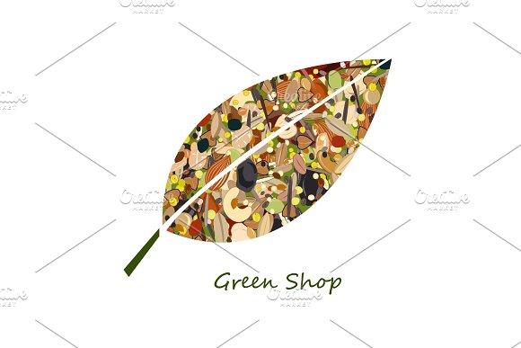 Cute Leaf Shape Logo From Nuts Dried Fuits Grains And Cereals Unusual Design For Eco Food Shop Or Green Store Vector