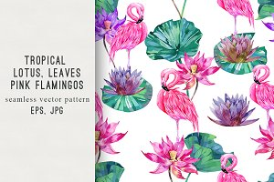 Lotus flowers,pink flamingos pattern