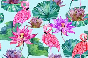 Pink lotus,flamingos pattern