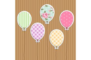 Cute retro party balloons as applique from scrap booking paper