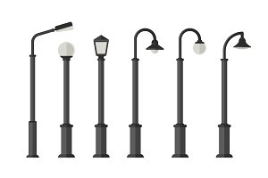 Street lighting flat icons