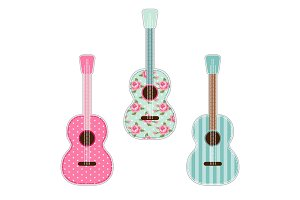 Cute retro fabric guitars with shabby roses as applique