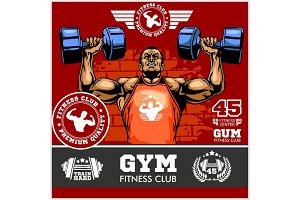 Bodybuilder doing exercise for biceps, professional bodybuilder sticker