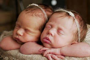 twins sisters newborn in the winding