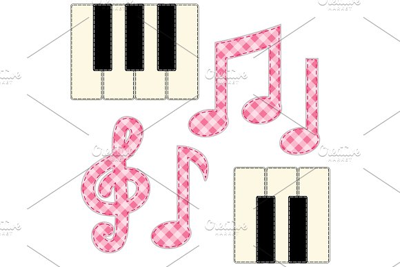 Cute Fabric Music Notes And Piano Keys As Applique In Shabby Chic Style