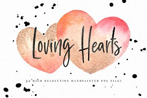 Watercolor Hearts Love Graphics