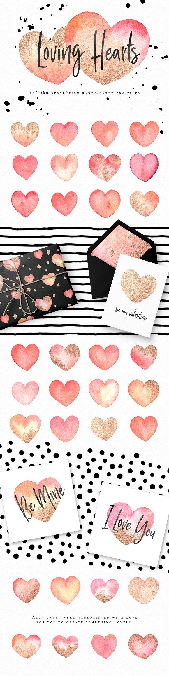 Watercolor Hearts Valentine Graphics